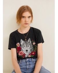 Mango - Decorative Embroidery T-shirt - Lyst