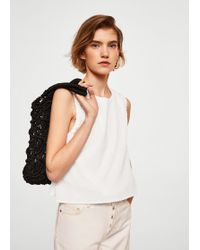 Mango - Dotted Swiss Cotton Top - Lyst