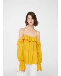 Mango - Flowy Off-shoulder Blouse - Lyst
