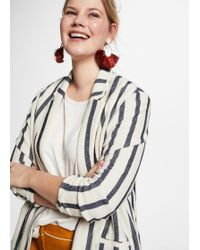 Violeta by Mango - Striped Cotton Blazer - Lyst