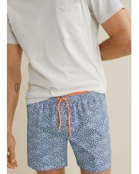 Mango - Flower Micro-printed Swimsuit - Lyst