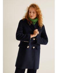 Mango - Buttoned Wool Coat - Lyst