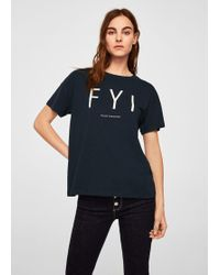Mango - Organic Cotton Message T-shirt - Lyst