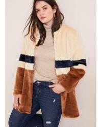 Violeta by Mango - Tricolor Faux Fur Coat - Lyst