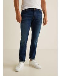 Mango - Slim-fit Faded Dark Wash Jan Jeans - Lyst