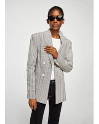 Mango | Double-breasted Check Suit Blazer | Lyst