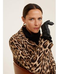 Mango - Bow Leather Gloves - Lyst
