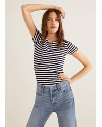d499f577341 Lyst - Violeta By Mango Striped Cotton T-shirt in Blue