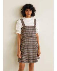 edb5455a9a5 Mango Pichi Denim Pinafore Dress in White - Lyst
