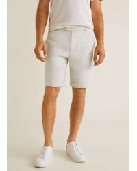 Mango - Striped Linen-blend Bermuda Shorts - Lyst