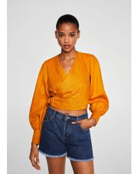 Mango - Frayed Hem Denim Shorts - Lyst