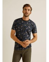 Mango - Leaf-print Cotton T-shirt - Lyst