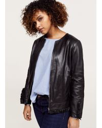 Violeta by Mango - Ruffled Leather Jacket - Lyst