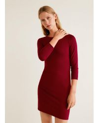 Mango - Fitted Jersey Dress - Lyst