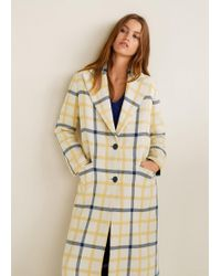 Mango - Checked Structured Coat - Lyst