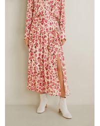 Mango - Printed Midi Skirt - Lyst