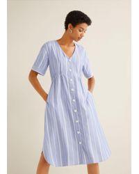845ffbd2a42 Mango Pocket Denim Pinafore Dress in White - Lyst