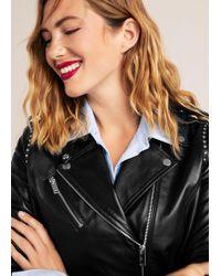 Violeta by Mango - Studded Leather Biker Jacket - Lyst