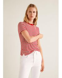 Mango - Striped Jersey T-shirt - Lyst