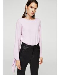 Mango - Sleeve Knotted Sweater - Lyst