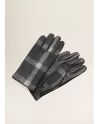 Mango - Combined Leather Glove - Lyst