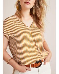 Violeta by Mango - Textured Stripe-patterned Blouse - Lyst