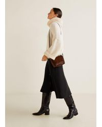 Mango - Leopard Leather Cross Body Bag - Lyst