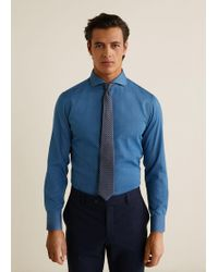 24512a0ae69 Mango Medium Denim Overshirt in Blue for Men - Lyst