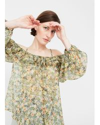 Mango - Printed Off-shoulder Blouse - Lyst