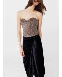 Mango - Sequined Bustier - Lyst