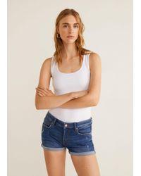 Mango - Medium Denim Shorts - Lyst