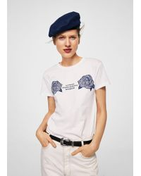 Mango - Embroidered Flowers T-shirt - Lyst