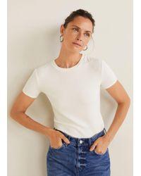 Mango - Ribbed T-shirt - Lyst