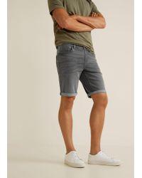 Mango - Grey Denim Bermuda Shorts - Lyst