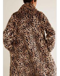 Mango - Leopard Faux-fur Coat - Lyst