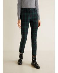 Mango - Straight Checkered Trousers - Lyst