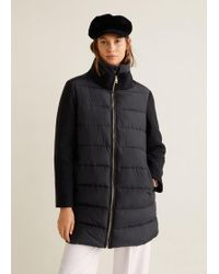 Mango - Wool-blend Quilted Coat - Lyst