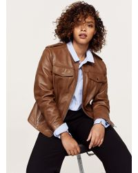 Violeta by Mango - Pocket Leather Jacket - Lyst