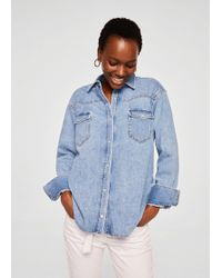 Mango - Medium Denim Overshirt - Lyst