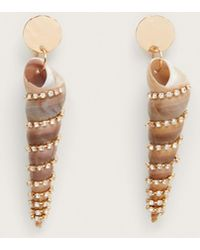 Violeta by Mango - Shell Strass Earrings - Lyst