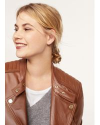 Violeta by Mango - Quilted Panel Leather Jacket - Lyst