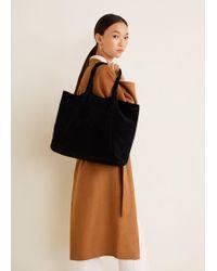 Mango - Suede Shopper Bag - Lyst
