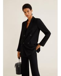Mango - Double-breasted Structured Blazer - Lyst