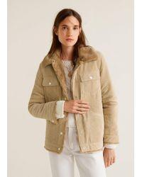 Mango - Fur Corduroy Jacket - Lyst