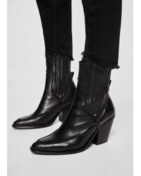 Mango - Leather Cowboy Ankle Boots - Lyst