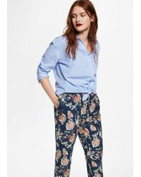 Violeta by Mango - Flowers Cotton Trousers - Lyst