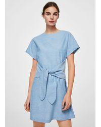 Mango - Bow Belted Dress - Lyst