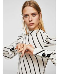 Mango - Puffed Sleeves Striped Shirt - Lyst