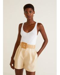 Mango - Linen-blend High-waist Shorts - Lyst