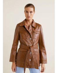 Mango - Pockets Leather Jacket - Lyst
